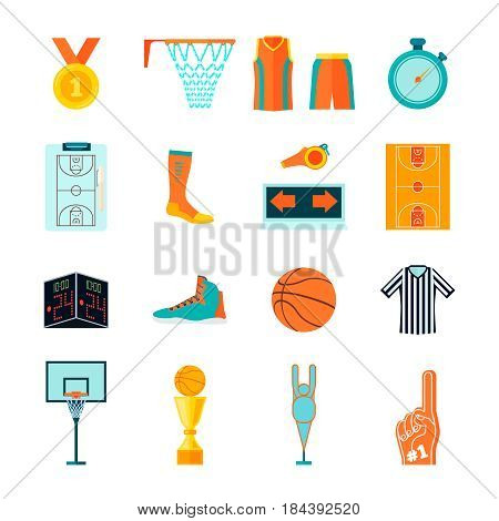 Set of basketball icons, ball, court, hoop, fan and referee equipment, apparel and devices