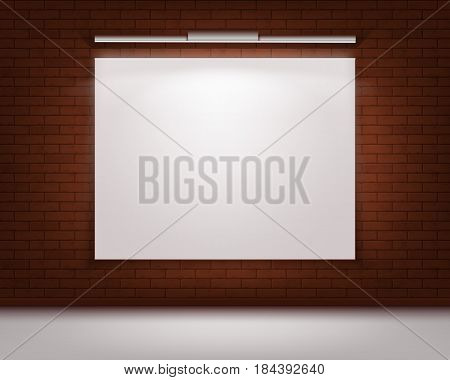 Vector Empty Blank White Mock Up Poster Picture Frame on Red Brick Wall with Floor and Illumination Front View