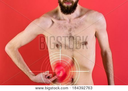 Naked, Slim Muscle, Male Torso With Target On Aching Sore