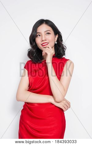 Amazing Luxury Asian Woman In Stylish Red Party Dress