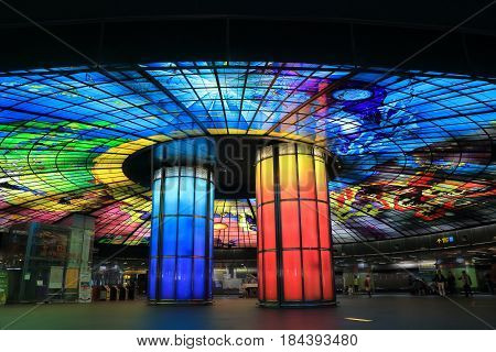 KAOHSIUNG TAIWAN - DECEMBER 13, 2016: Unidentified people visit Dorm of light at Formosa Boulevard station. Dorm of light is the largest glass work in the world.
