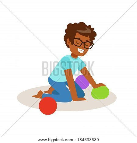 Little boy sitting and playing with colorful balls. Cartoon character vector Illustration isolated on a white background