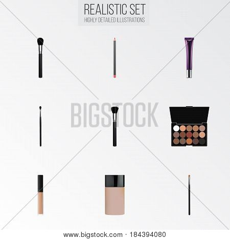 Realistic Brow Makeup Tool, Beauty Accessory, Day Creme And Other Vector Elements. Set Of Greasepaint Realistic Symbols Also Includes Powder, Palette, Skincare Objects.