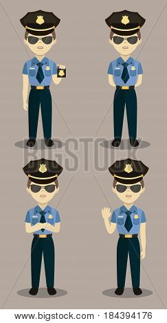 Set of colorful isolated vector policeman at work. Policeman character for scenes.
