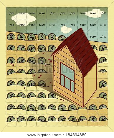 The house with a gable roof and one window stands on the field divided by perforation into one hundred cells. The field is sown with coins with the dollar sign.