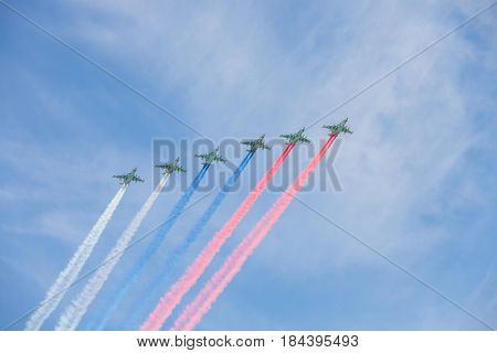 Russia. Moscow - May 9, 2015. The Victory Day. Air parade over the Red Square in honour of the celebration of the 70th anniversary of Victory Day.