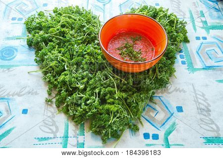 Heart Symbol, Made From Greenery Is On A Table