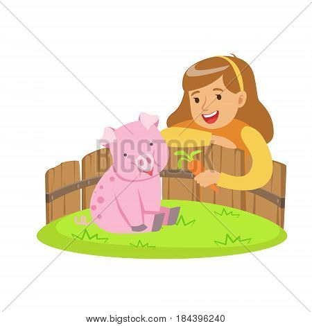 Happy little girl feeding pink pig with carrot in a mini zoo. Colorful cartoon character vector Illustration isolated on a white background