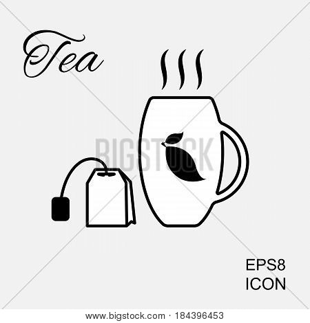 Cup of Hot Tea Icon and Tea Bag Pictogram