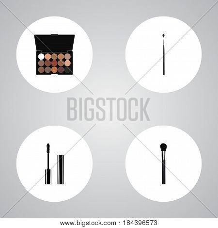 Realistic Multicolored Palette, Beauty Accessory, Eyelashes Ink And Other Vector Elements. Set Of Greasepaint Realistic Symbols Also Includes Ink, Multicolored, Mascara Objects.