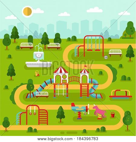 Flat design vector illustration of park with kids playground and attractions with fountain, swings, slides and tube, carousel. Infographic design elements of amusement park for children.