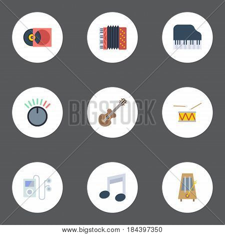 Flat Acoustic, Rhythm Motion, Tone Symbol And Other Vector Elements. Set Of Music Flat Symbols Also Includes Rhythm, Symbol, Octave Objects.