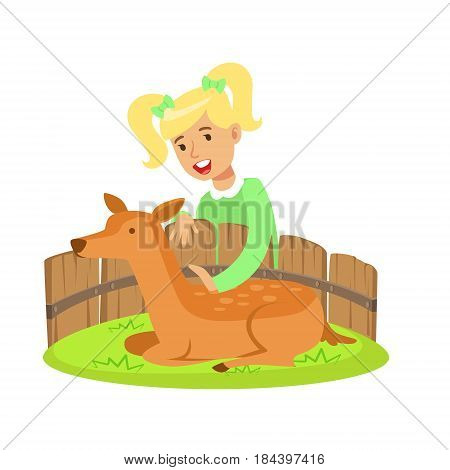 Cute little girl petting lying deer in a mini zoo. Colorful cartoon character vector Illustration isolated on a white background