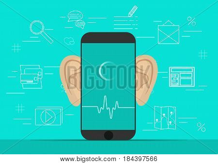 Smartphone with ears, recording audio on screen. Background with simple line icons.Concept of security and protection of electronic virtual information in gadgets and social networks of the Internet..Vector illustration.