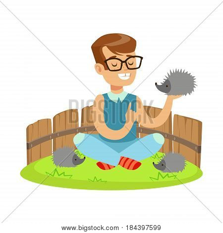 Happy little boy sitting on green grass and playing with hedgehogs in a mini zoo. Colorful cartoon character vector Illustration isolated on a white background