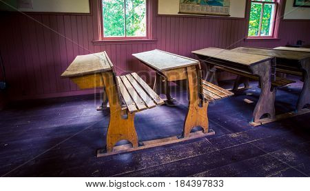 Old wooden desk in a school in Prince Edward island