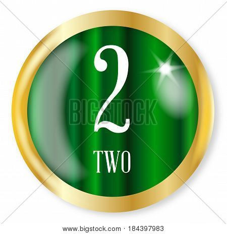 2 for Two button from the NATO phonetic alphabet/number with a gold metal circular border over a white background