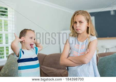 Brother teasing his sister while standing with arms crossed in living room at home