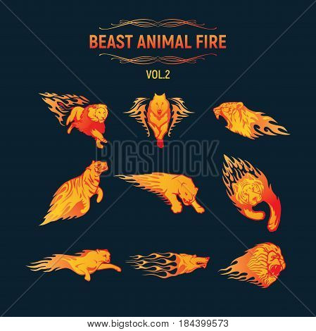 Beast Animal Flame Set. Fully editable vector Illustration.