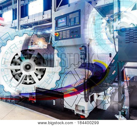 machine control panel CNC with with numerical control covered illustration gear wheel, Hi-tech digital technology