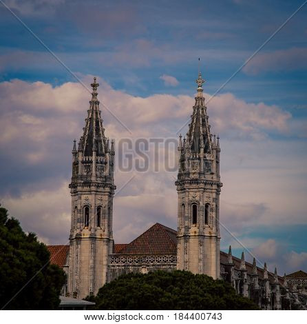 Twin church tower in the city of  Belem Portugal.