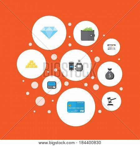 Flat Verdict, Billfold, Payment And Other Vector Elements. Set Of Banking Flat Symbols Also Includes Diamond, Wallet, Remote Objects.