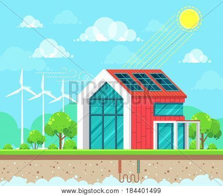 Flat style design vector illustration of landscape on ecology theme. Solar geothermal and wind energy idea concept