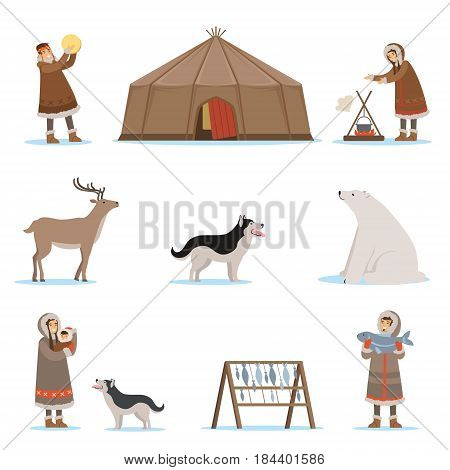 Eskimo characters in traditional clothing, arctic animals, igloo house. Life in the far north. Set of colorful cartoon detailed vector Illustrations isolated on white background