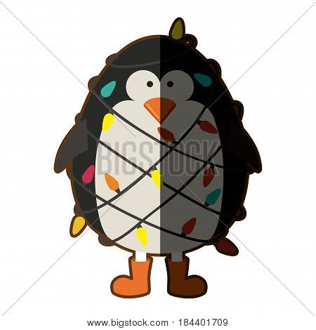 silhouette of penguin with boots and involved in cord lights christmas with half shadow vector illustration