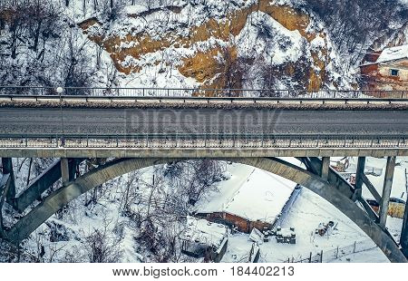 Viaduct on winter time, closeup view .