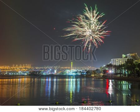 Independence day, festive fireworks in Eilat - number one tourist resort in Israel