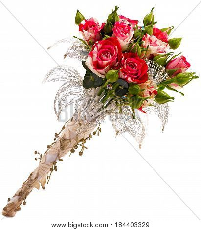 Wedding flower bouquet isolated on white .