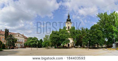 Kikinda town Serbia church landmark architecture panorama