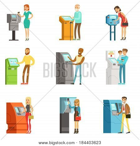 People using electronic self service terminals. Payments and receive money. ATM machine money deposit and withdrawal. Set of colorful cartoon detailed vector Illustrations isolated on white background