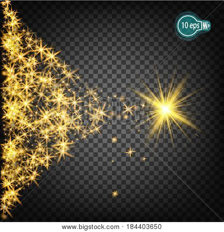 Magically flying a Christmas star is a realistic light effect. Isolated stream of stars light. Transparent template of the impetuous car for the design of Xmas Holiday greeting cards Happy New Year