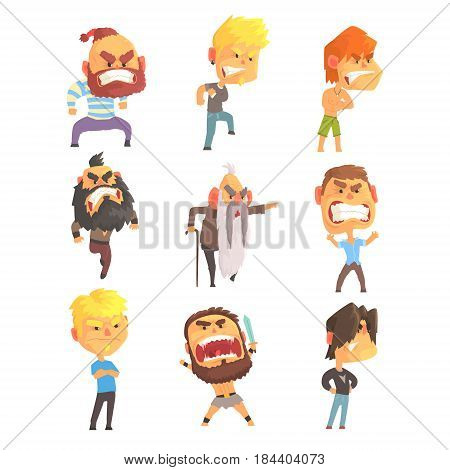 Angry and exasperated men set for label design. Men negative emotions. Colorful cartoon detailed vector Illustrations isolated on white background