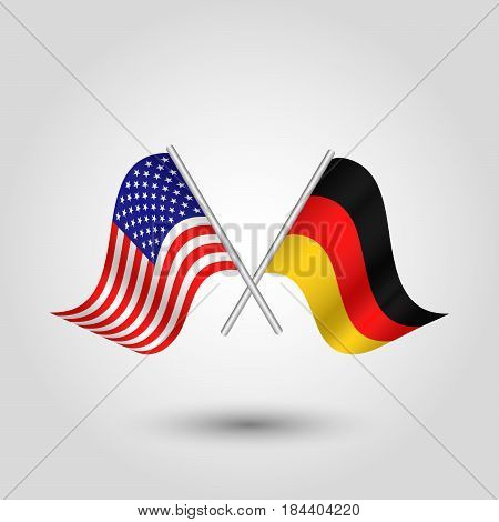 vector waving simple triangle two crossed american and german flags on slanted silver pole - icon united states of america and germany