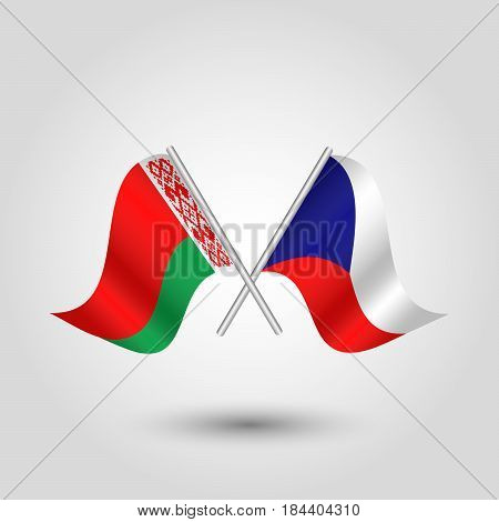 vector waving simple triangle two crossed czech and byelorussian flags on slanted silver pole - icon of czech republic and belarus