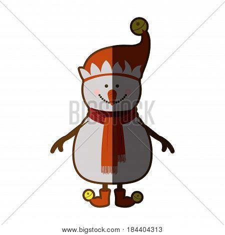 silhouette of snowman with red cap and scarf and boots and yellow garlands with half shadow vector illustration