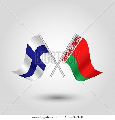 vector waving simple triangle two crossed finnish and byelorussian flags on slanted silver pole - icon of finland and belarus