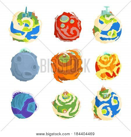 Colorful planets of the solar system set for label design. Cartoon detailed vector Illustrations isolated on white background