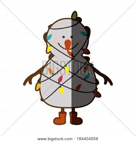 silhouette of snowman with red boots and tangled in cord lights christmas with half shadow vector illustration