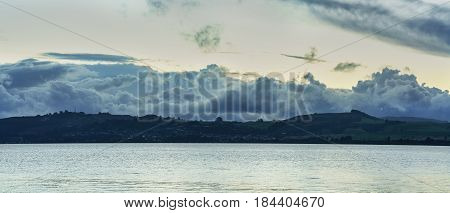 Panoramic scenery of Lake Taupo in sunset North Island of New Zealand