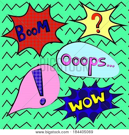 Colorful speech bubbles and explosions in pop art style. Elements of design comic. wow boom oops clank bam blam wham best kaboom from different comic fonts.question mark