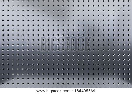 3d rendering of gray metal background perforated metal texture