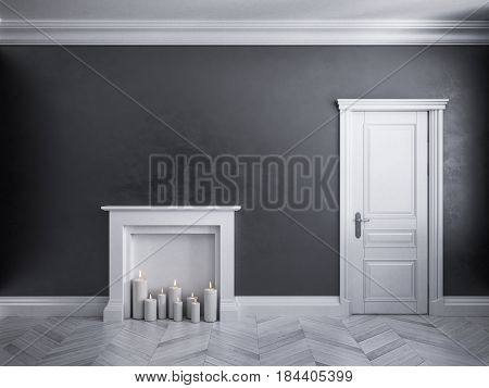 Classic black interior with door, parquet, and fireplace with candles. 3d render illustration