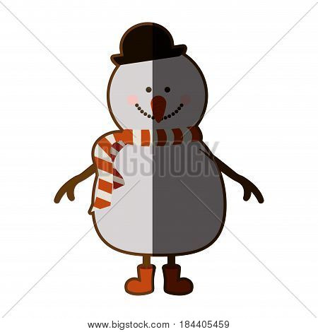 silhouette of snowman with red boots and scarf and black hat with half shadow vector illustration