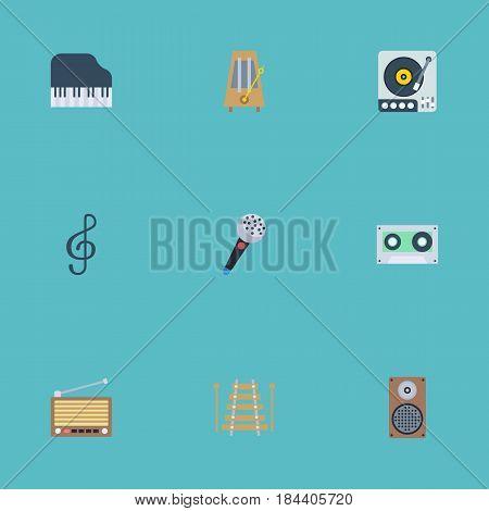 Flat Karaoke, Octave Keyboard, Quaver And Other Vector Elements. Set Of Studio Flat Symbols Also Includes Clef, Speaker, Keys Objects.