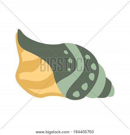 Grey And Yellow Mollusk Shell, Part Of Mediterranean Sea Marine Animals And Reef Life Illustrations Series. Aquarium Element Isolated Stylized Icon, Underwater Inhabitant Artistic Sticker.