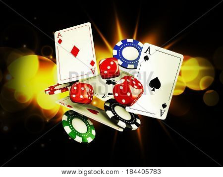 Casino background with cards chips and craps on bright light 3d illustration.